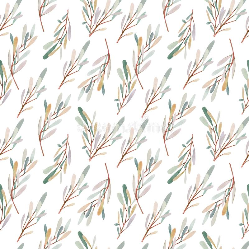 Abstract watercolor seamless pattern olives branches vector illustration