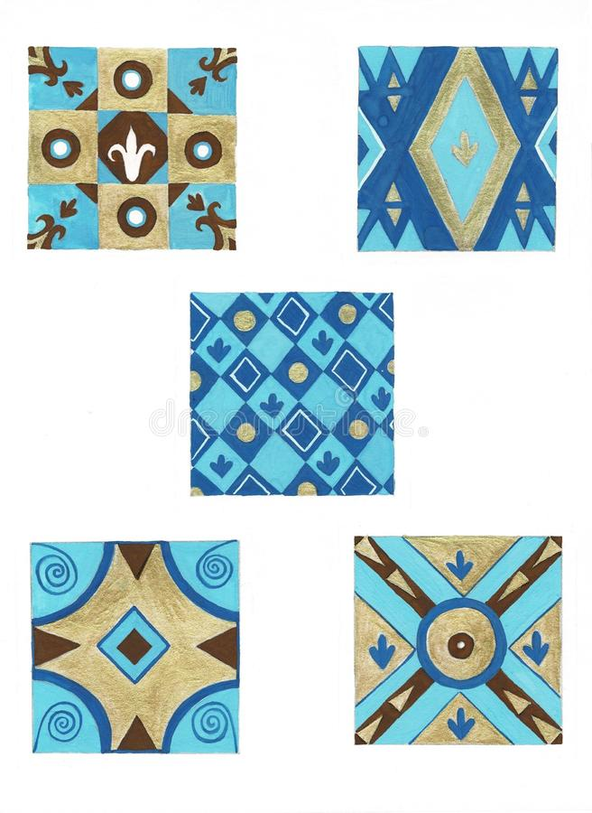 Hand painted abstract watercolor for textile and surface design in china blue color. Ornament for swimwear. royalty free stock photos