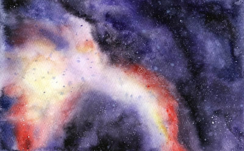 Hand painted abstract Watercolor Wet purple Outer space and stars Background with stains stock illustration