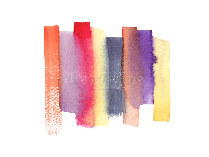 Hand painted abstract Watercolor Wet red, pink, blue and orange brush stroke isolated on white background royalty free illustration