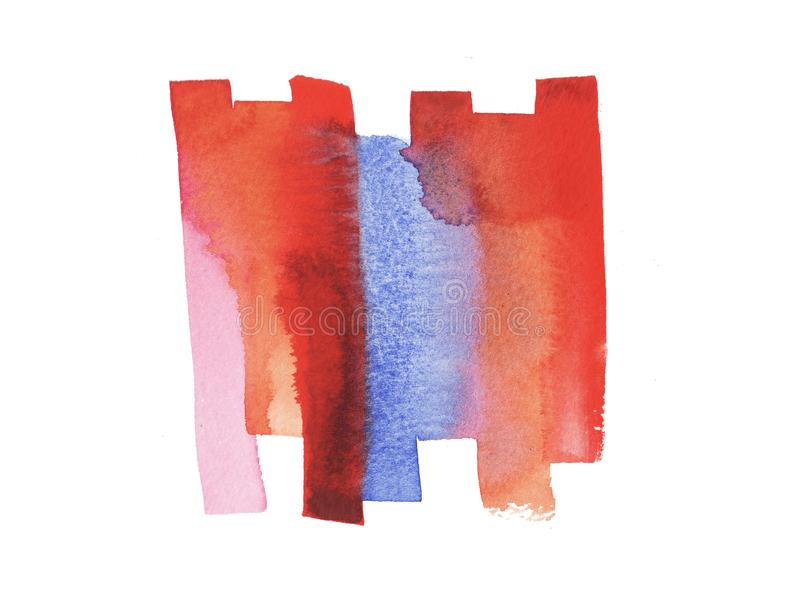 Hand painted abstract Watercolor Wet red, pink, blue and orange brush stroke isolated on white background stock illustration