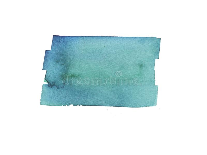 Hand painted abstract Watercolor Wet turquoise, green and blue brush stroke isolated on white background royalty free stock photos