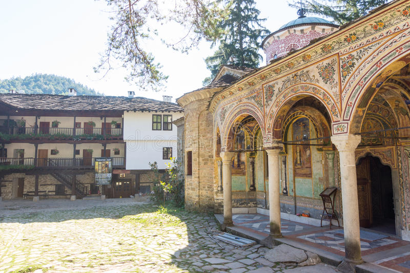 Hand-painted architecture of the old Troyan Monastery, Bulgaria stock images