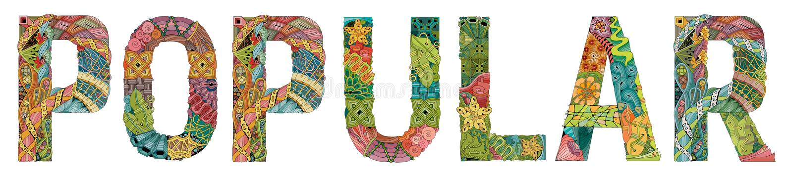 Word POPULAR. Vector decorative zentangle object for decoration royalty free illustration