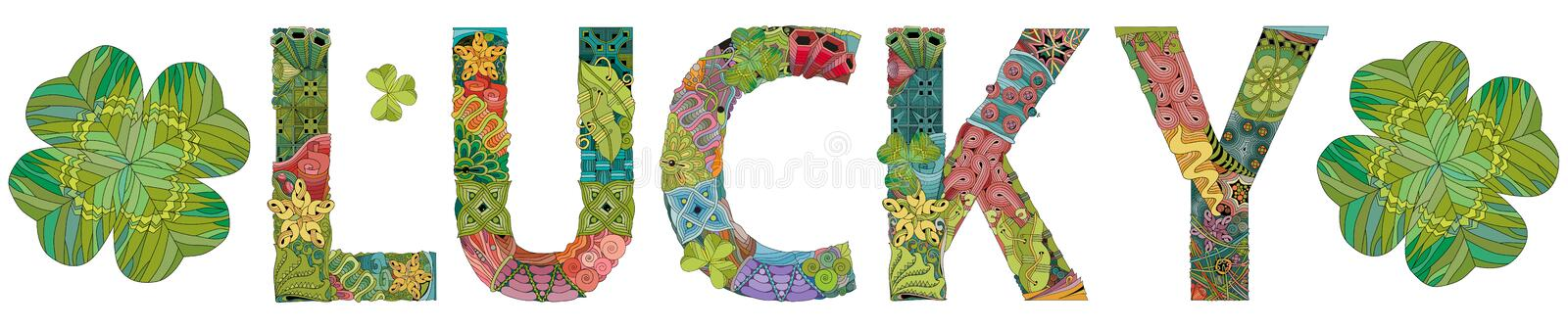 Word LUCKY with clover leaves. Vector zentangle object for decoration stock illustration