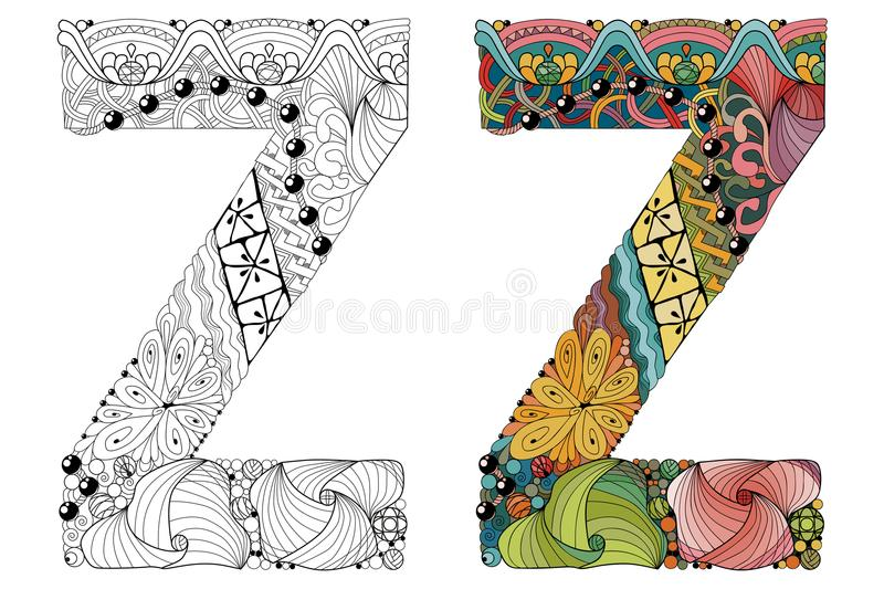 Letter z zentangle for coloring vector decorative object stock download letter z zentangle for coloring vector decorative object stock vector illustration of element spiritdancerdesigns Image collections
