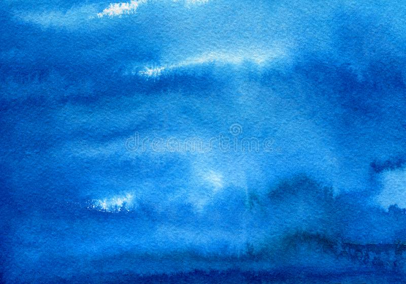 Hand painted blue watercolor background. Watercolor wash. royalty free stock photos