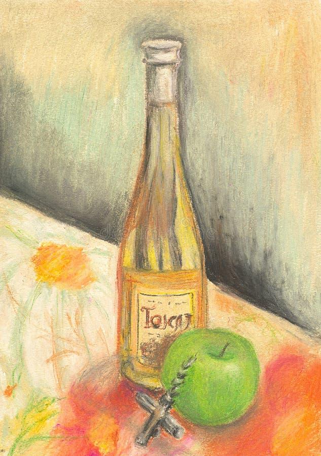 Download Hand Painted Bottle Of Wine Stock Illustration - Illustration: 18223245