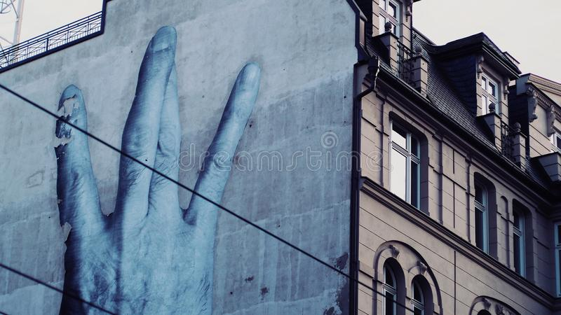 Hand Painted on Building royalty free stock photo