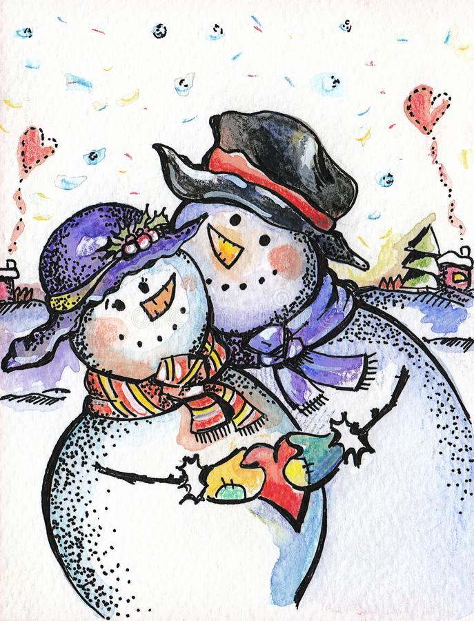 Painted card `two snowmen in love`. Hand-painted card `two snowmen in love`, watercolor technique, on paper. Artist Galina Petkova vector illustration