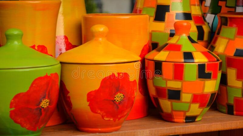 hand-painted-ceramic-pottery-with-floral-and-geometrical-motifs royalty free stock photography