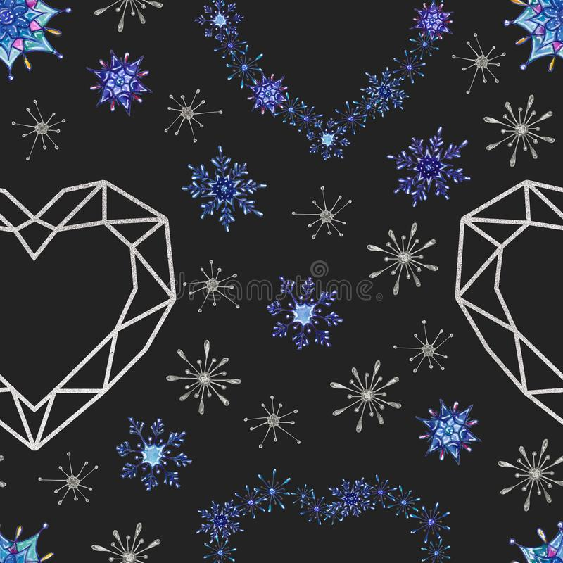 Hand painted Christmas watercolor snowflakes seamless pattern. Abstract snowflakes and geometric shapes isolated on dark background. Perfect for cards, textile vector illustration