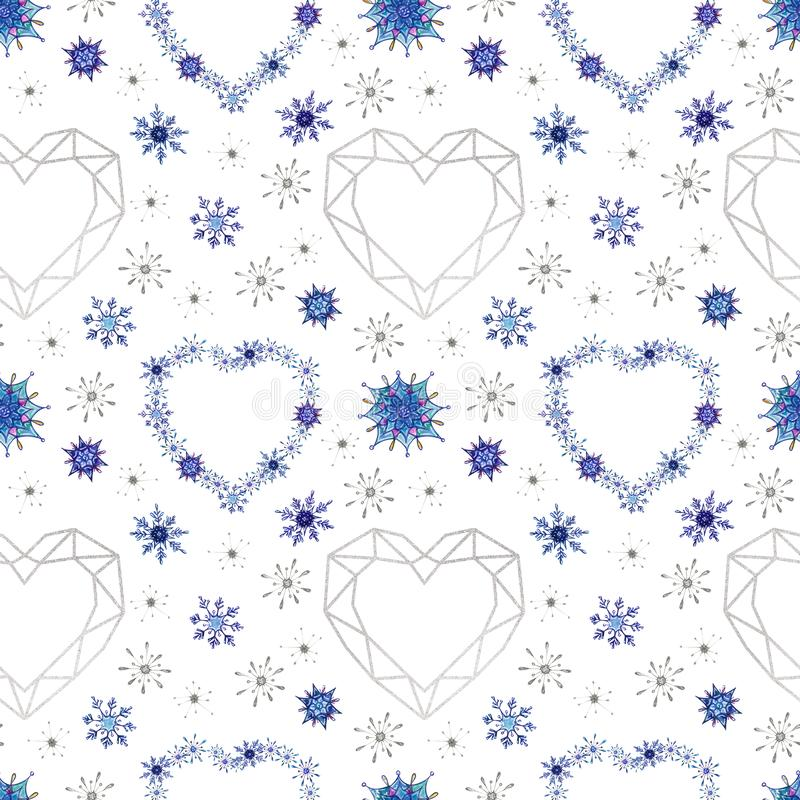Hand painted Christmas watercolor snowflakes seamless pattern. vector illustration