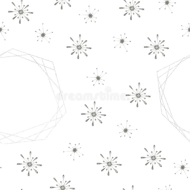 Hand painted Christmas watercolor snowflakes seamless pattern. Abstract snowflakes and geometric shapes isolated on white background. Perfect for cards vector illustration