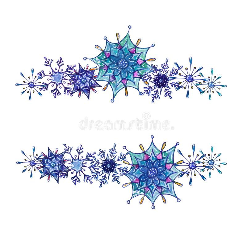 Hand painted Christmas watercolor snowflakes template. Decorative Snowflakes frame isolated on white background. Perfect for card, invitation, logo design, etc royalty free illustration