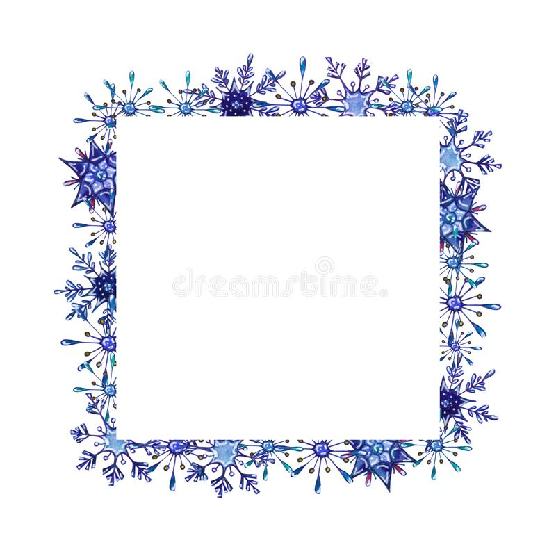 Hand painted Christmas watercolor snowflakes template. Decorative Snowflakes frame isolated on white background. Perfect for card, invitation, logo design, etc vector illustration