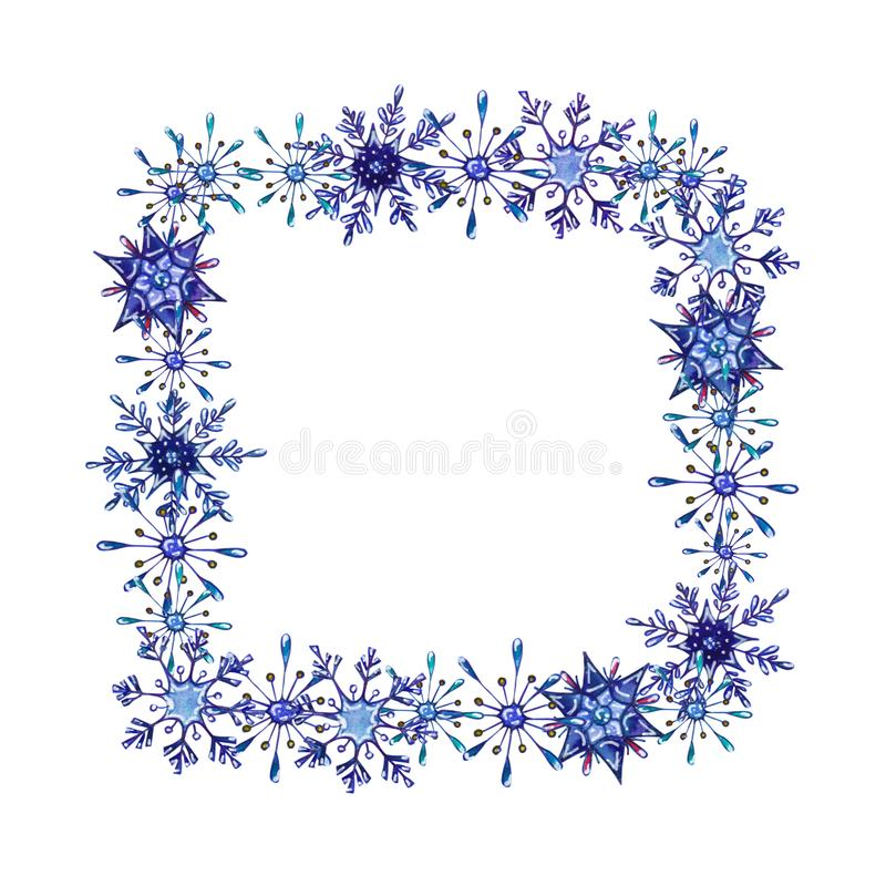 Hand painted Christmas watercolor snowflakes template royalty free illustration