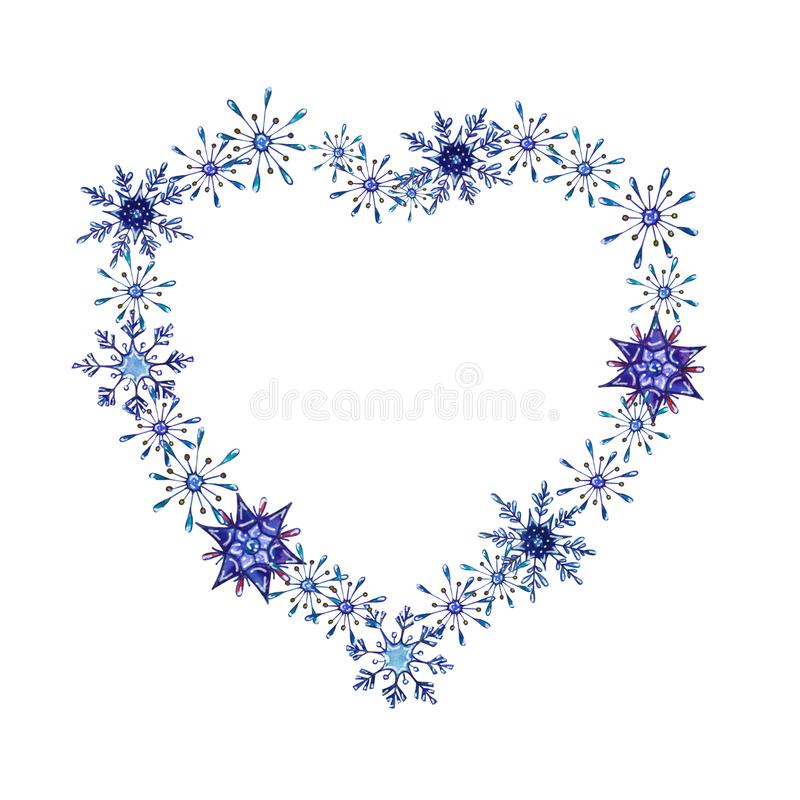 Hand painted Christmas watercolor snowflakes template. Decorative Snowflakes in heart shape isolated on white background. Perfect for card, invitation, logo stock illustration