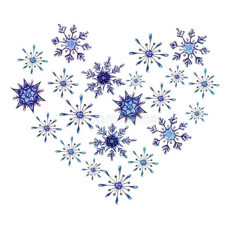 Hand painted Christmas watercolor snowflakes template. Decorative Snowflakes in heart shape isolated on white background. Perfect for card, invitation, logo royalty free illustration
