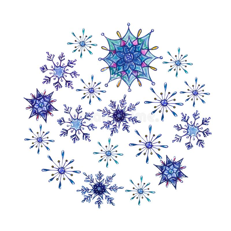 Hand painted Christmas watercolor snowflakes template. Decorative Snowflakes in round shape isolated on white background. Perfect for card, invitation, logo vector illustration