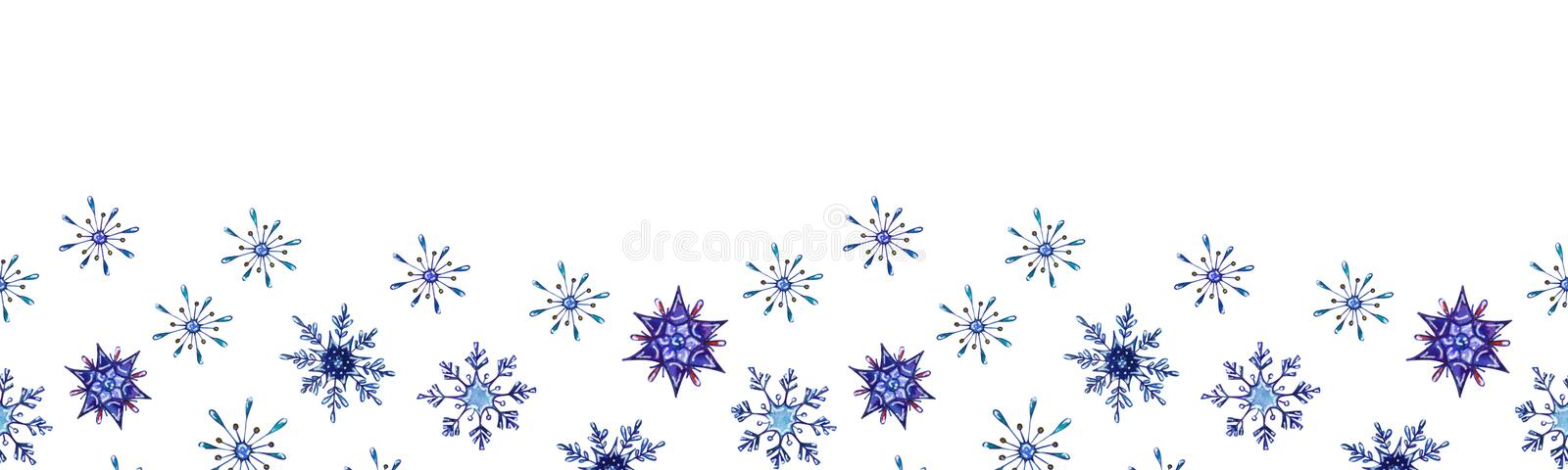 Hand painted Christmas watercolor snowflakes template. Decorative Snowflakes seamless banner isolated on white background. Perfect for card, invitation, web vector illustration