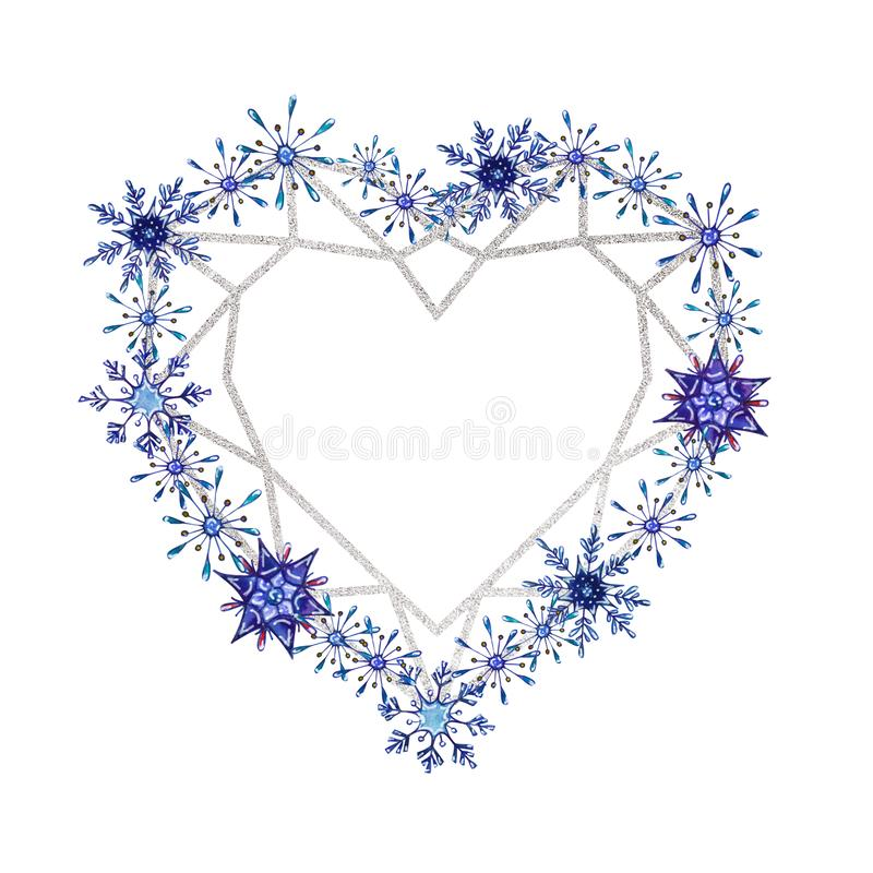 Hand painted Christmas watercolor snowflakes template. Decorative Snowflakes with silver geometric frame in heart shape isolated on white background. Perfect vector illustration