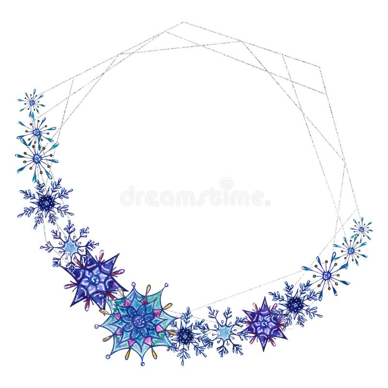 Hand painted Christmas watercolor snowflakes template. Decorative Snowflakes with silver geometric frame isolated on white background. Perfect for card stock illustration