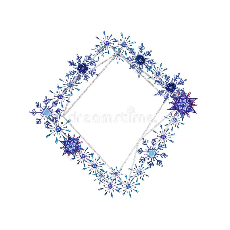 Hand painted Christmas watercolor snowflakes template. royalty free illustration