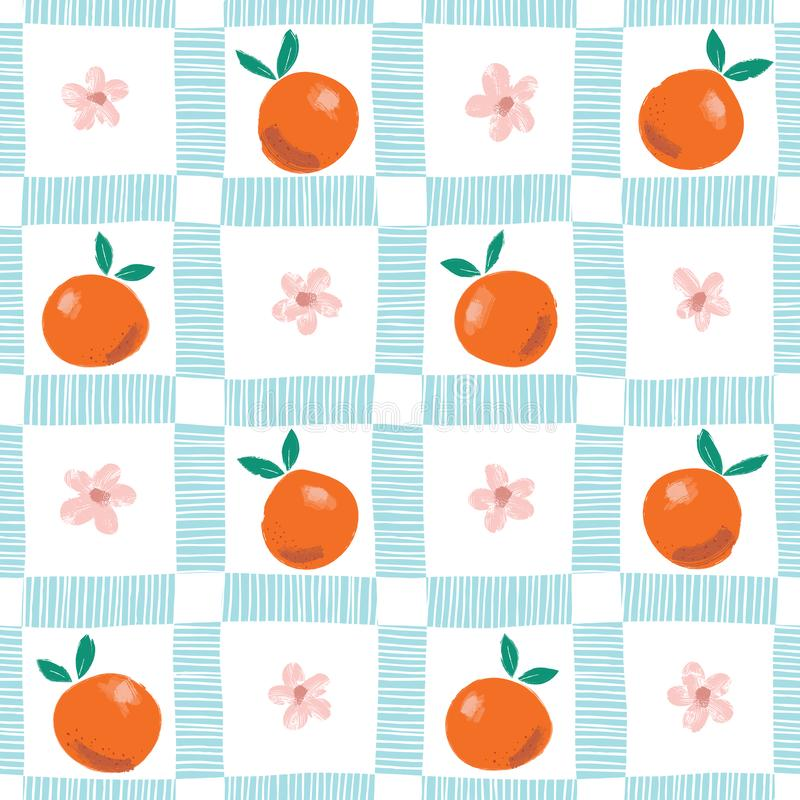 Free Hand Painted Colorful Abstract Oranges, Flowers And Leaves On Plaid Background. Summer Fruits Vector Seamless Pattern Stock Photos - 140774743