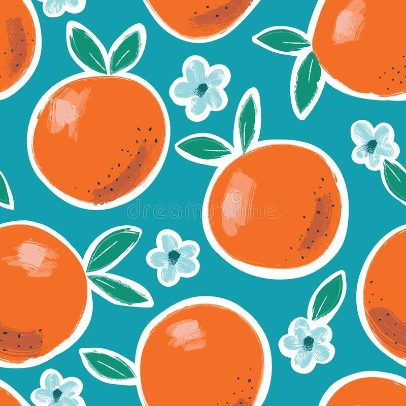 Hand Painted Colorful Abstract Oranges, Flowers and Leaves on Blue Background. Summer Fruits Vector Seamless Pattern royalty free illustration