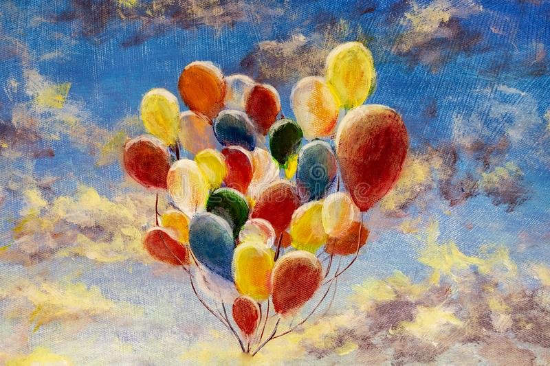 Hand painted Colorful balloons against blue sky. And clouds modern oil painting on canvas art artwork royalty free stock photo