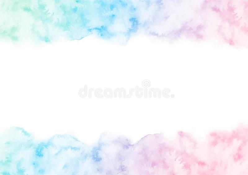 Hand painted colorful watercolor texture frame isolated on the white background. Vector border template for cards stock illustration