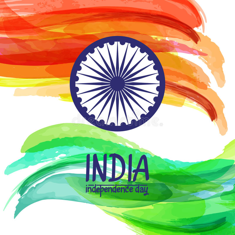 Hand-painted digital watercolor India flag. Template for indian republic day and independence day. Vector illustration not auto-tracing vector illustration