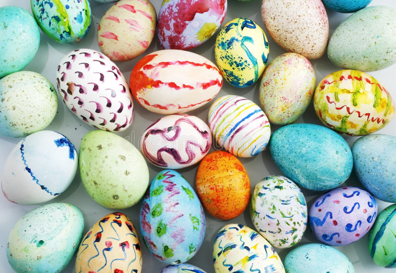 Hand painted easter eggs stock images