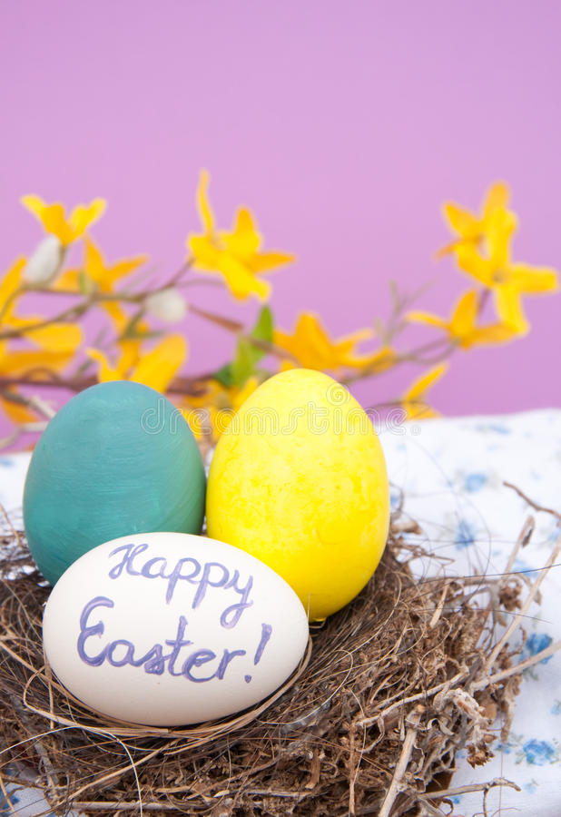 Hand painted Easter eggs in a bird nest royalty free stock photography