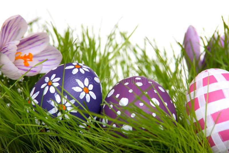 Download Hand-painted Easter Eggs Hidden In The Grass Stock Photo - Image of hand, eggs: 23932512