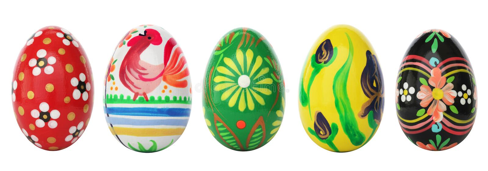 Hand painted Easter eggs isolated on white. Spring patterns royalty free stock image