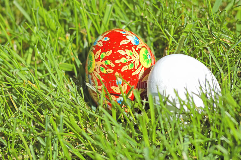 Download Hand Painted Ethnic Egg And A White Egg Stock Image - Image: 19076357
