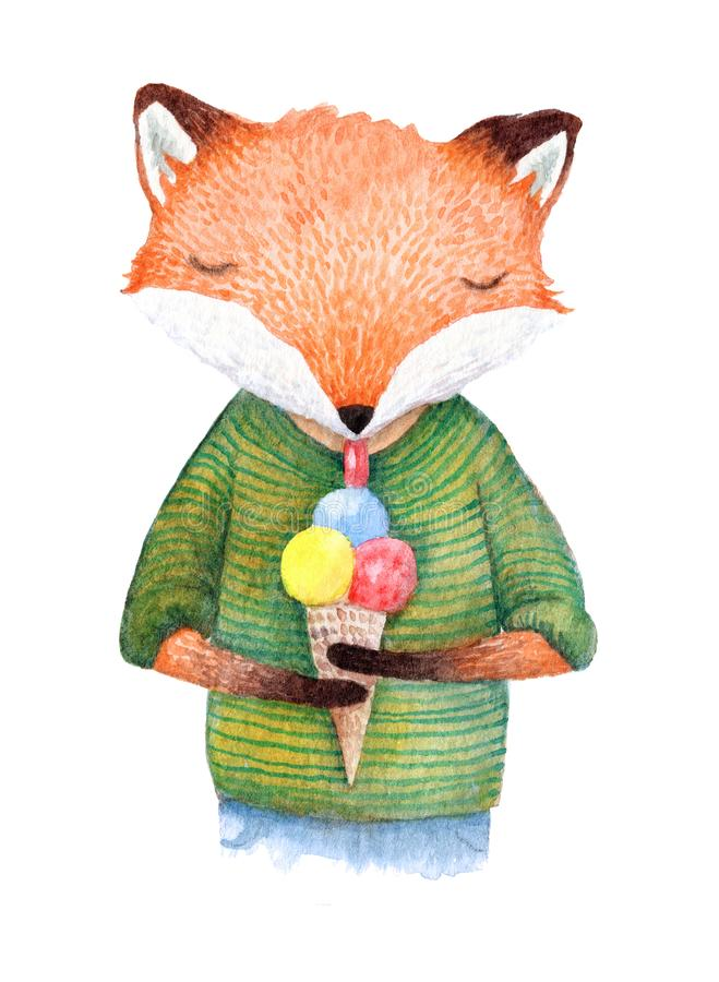 Hand painted fox eating an ice cream royalty free illustration