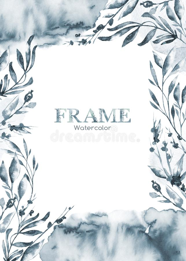 Hand painted frame with watercolor flowers and herbs. Original hand drawn illustration. Natural template design royalty free illustration