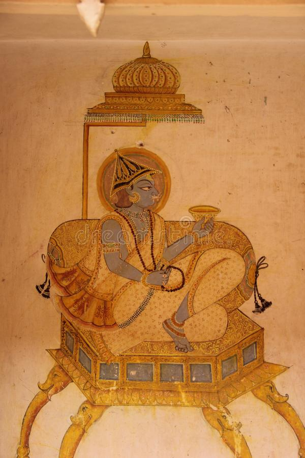 A Hand painted Fresco in Jodhpur. A Hand painted Hindu Fresco in a building in the city of Jodhpur, India royalty free stock photos