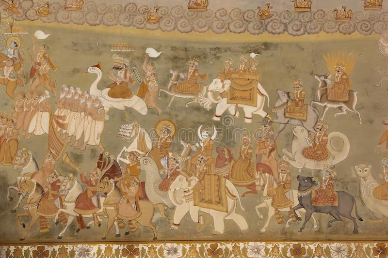 A Hand painted Fresco in Jodhpur. A Hand painted Hindu Fresco decorating a building in the city of Jodhpur, India stock image