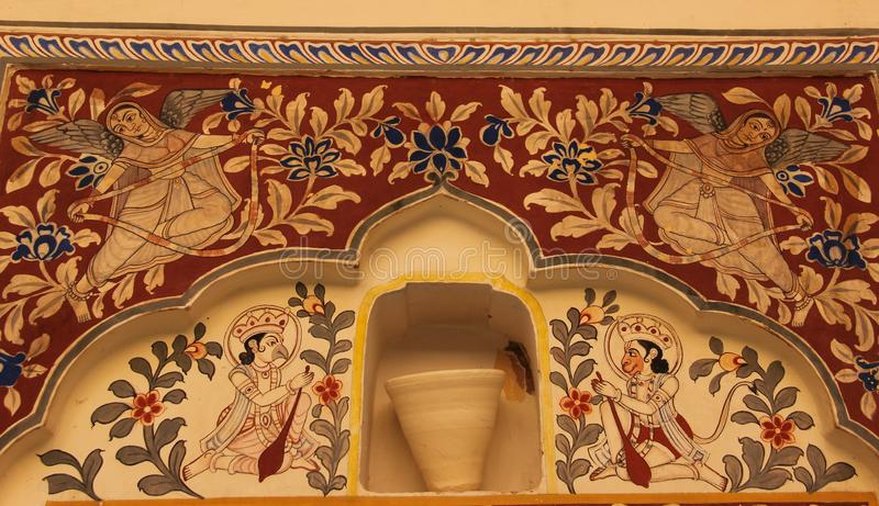 A fresco in the city of Mandawa. A hand painted fresco is painted on the ceiling of a Haveli in Mandawa, India royalty free stock images