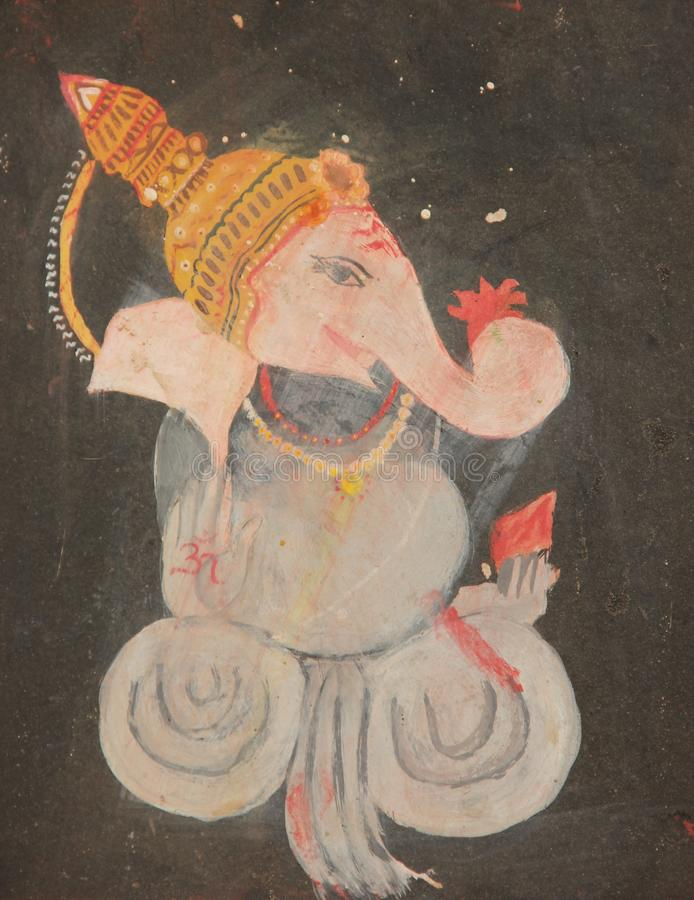 A Hand painted Fresco in Pushkar. A Hand painted Hindu Fresco of the god Ganesha decorating a building in the city of Pushkar, India royalty free stock images