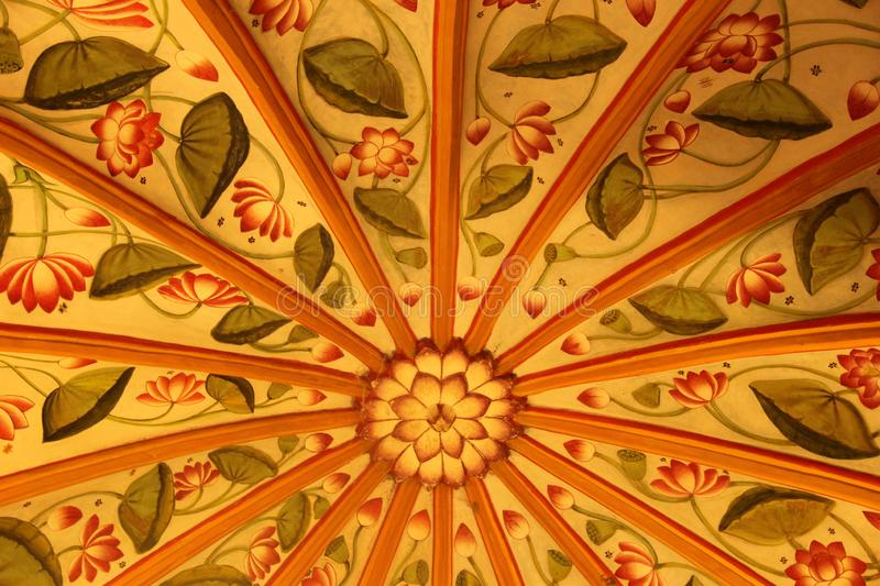 A Hand Painted Fresco in Udaipur. Hand painted Fresco`s decorate the old traditional building of Udaipur, India stock image