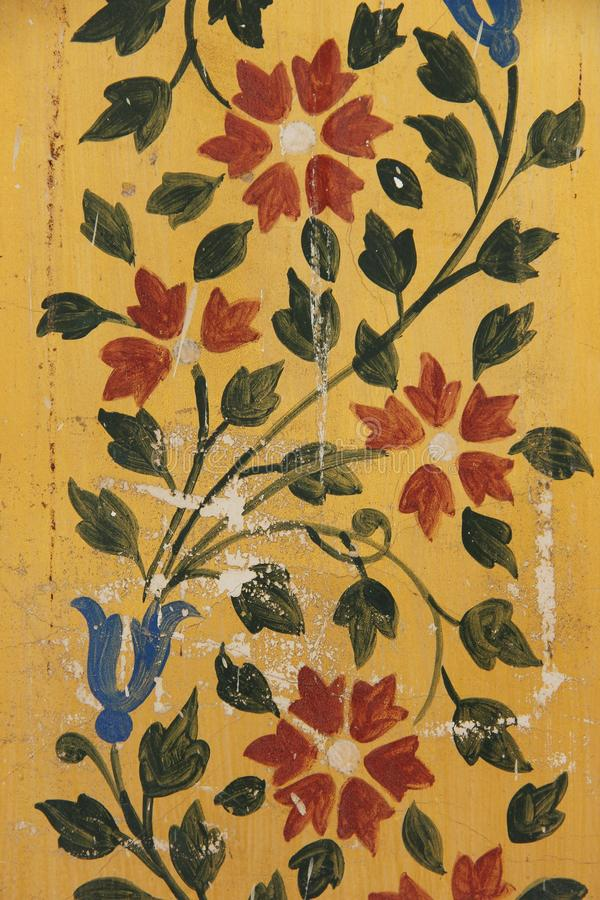 A Hand Painted Fresco in Udaipur. Hand painted Fresco`s decorate the old traditional building of Udaipur, India stock photo