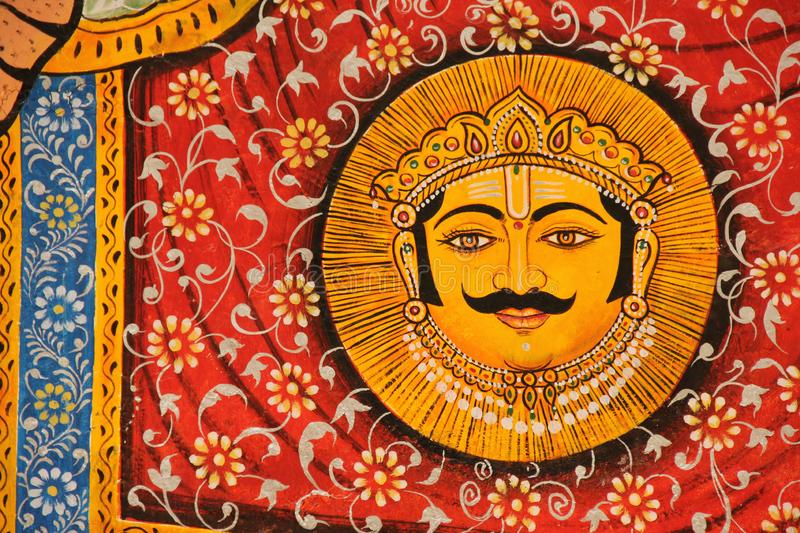 A Hand Painted Fresco in Udaipur. Hand painted Fresco`s decorate the old traditional building of Udaipur, India stock images
