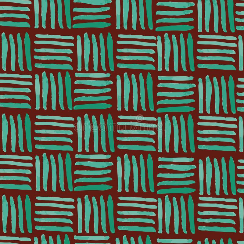 Hand painted green basket weave seamless pattern on maroon background royalty free illustration