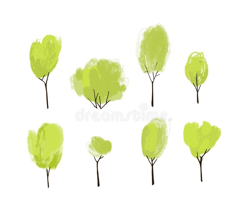 Hand painted green trees set. Collection of hand drawn trees and bushes with textured top. stock illustration