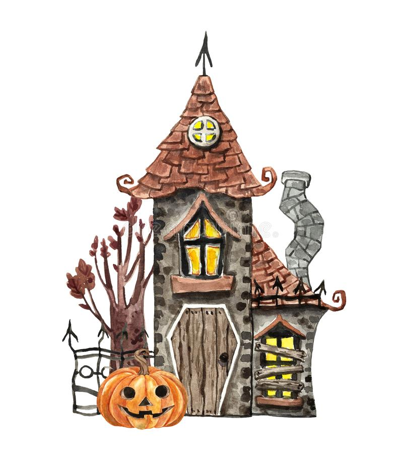 Free Hand Painted Haunted House Illustration. Watercolor Spooky House, Jack O Lantern Pumpkin, Old Tree, Isolated. Halloween Party Stock Photography - 161017862
